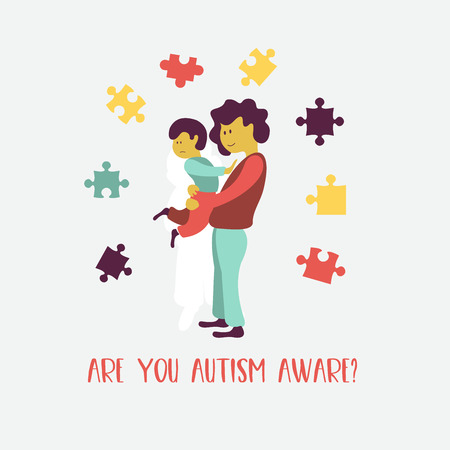 Autism. Early signs of autism syndrome in children. Vector emblem.  Children autism spectrum disorder ASD icon. Signs and symptoms of autism in a child. Stock Illustratie