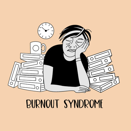 Mental health. Burnout syndrome. Chronic fatigue. Depression. Mental disorder. A man sleeping at work. Vector illustration.