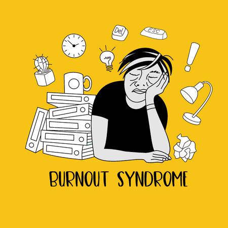 Salud mental. Síndrome de burnout. Fatiga cronica. Depresión. Trastorno mental. Un hombre durmiendo en el trabajo. Ilustración vectorial. Ilustración de vector