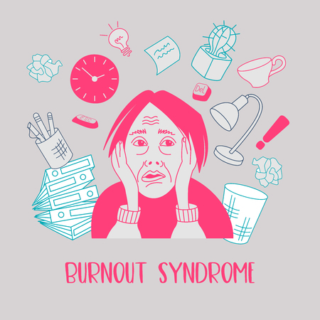 Santé mentale. Syndrome de burn-out. Fatigue chronique. Dépression. Désordre mental. La femme en panique. Illustration vectorielle. Vecteurs