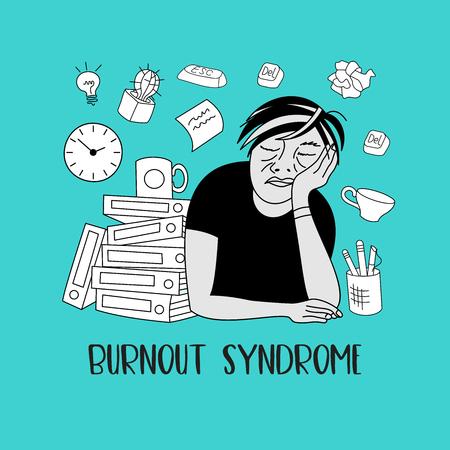 Salute mentale. Sindrome da burnout. Fatica cronica. Depressione. Disordine mentale. Un uomo che dorme al lavoro. Illustrazione vettoriale.