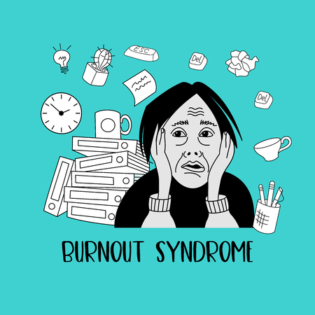 Mental health. Burnout syndrome. Chronic fatigue. Depression. Mental disorder. The woman in a panic. Vector illustration.