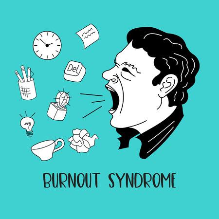 Salud mental. Síndrome de burnout. Fatiga cronica. Depresión. Trastorno mental. Agresión. Un hombre enfurecido, grita fuerte. Ilustración de vector.
