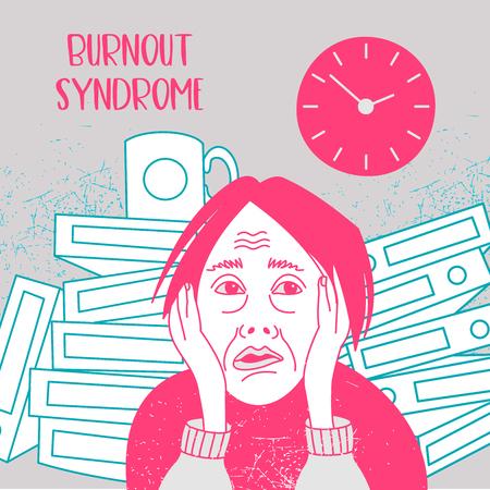Salute mentale. Sindrome da burnout. Fatica cronica. Depressione. Disordine mentale. La donna in preda al panico. Illustrazione vettoriale.