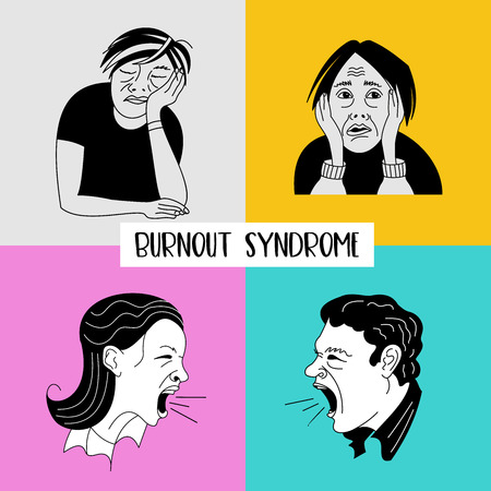 Mental health. Burnout syndrome. Chronic fatigue. Depression. Mental disorder. Aggression. A set of distinctive characters. A man sleeps sitting, a woman in a panic, a man and a woman in a rage screaming. Vector illustration.