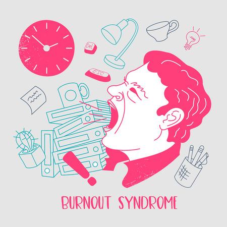 Salute mentale. Sindrome da burnout. Fatica cronica. Depressione. Disordine mentale. Aggressione. Un uomo in preda alla rabbia, grida ad alta voce. Illustrazione vettoriale.