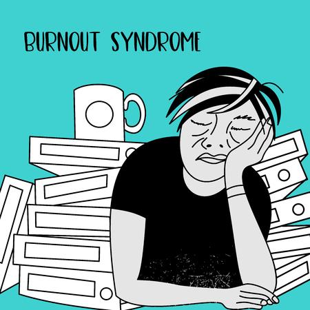 Mental health. Burnout syndrome. Chronic fatigue. Depression. Mental disorder. A man sleeping at work. Vector illustration.