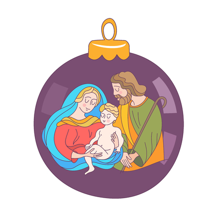 Merry Christmas. Vector greeting card. Virgin Mary, baby Jesus and Saint Joseph the betrothed. Christmas decoration ball.