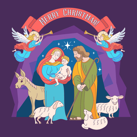Merry Christmas. Vector greeting card. Virgin Mary, baby Jesus and Saint Joseph the betrothed. The Christmas scene. Illustration