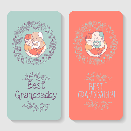 Happy day for the elderly. Lovely greeting card with a holiday. Happy grandfather and his beloved grandson. Floral wreath. Vector illustration.
