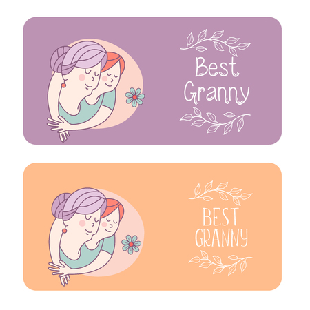 Happy day for the elderly. Beautiful card with a holiday. Happy grandmother and her beloved granddaughter. Floral wreath. Vector illustration. Stock Illustratie