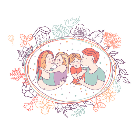 Happy family. Vector illustration for the international family day. Happy parents and their children. Framed by a floral wreath.