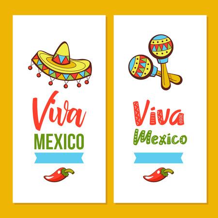 Viva Mexico. Vector illustration, invitation. Sombreros and maracas.