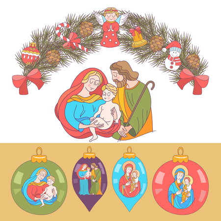 Merry Christmas.   Christmas card. Fir wreath decorated with Christmas decorations, angels, balls, cones, bells. The virgin Mary holds the baby Jesus. Saint Joseph stands beside them. Set of Christmas balls with the image of the Holy family