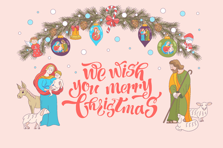 Merry Christmas. Christmas card. Fir wreath decorated with Christmas decorations, angels, balls, cones, bells. The virgin Mary holds the baby Jesus. Saint Joseph stands beside them.