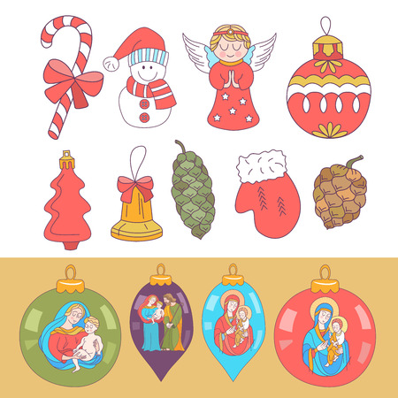 Set of Christmas balls with the image of the Holy family. Set of Christmas decorations. Isolated on white background. Stockfoto - 117007308