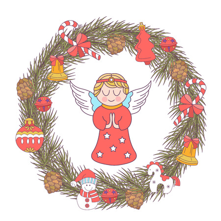 merry christmas vector christmas card fir wreath decorated with christmas decorations angels