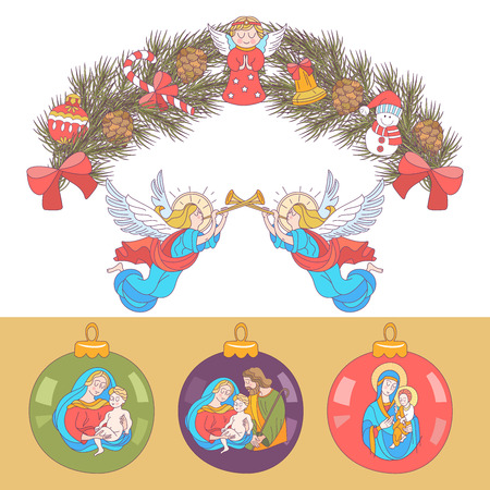 Merry Christmas. Vector Christmas card. Fir wreath decorated with Christmas decorations, angels, balls, cones, bells. Set of Christmas balls with the image of the Holy family Stockfoto - 110164452