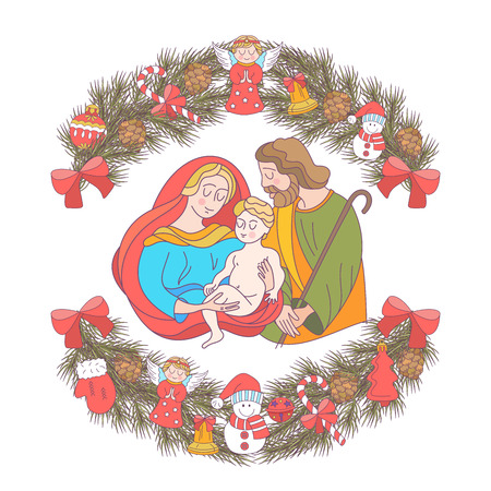 Merry Christmas.  Christmas card. Fir wreath decorated with Christmas decorations, angels, balls, cones, bells. The virgin Mary holds the baby Jesus. Saint Joseph stands beside them. 矢量图像