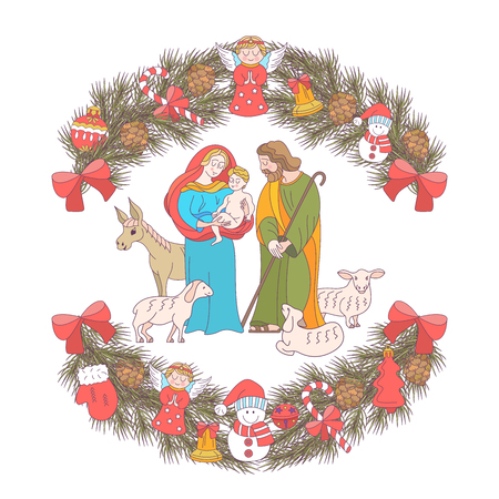 Merry Christmas.  Christmas card. Fir wreath decorated with Christmas decorations, angels, balls, cones, bells. The virgin Mary holds the baby Jesus. Saint Joseph stands beside them. 일러스트