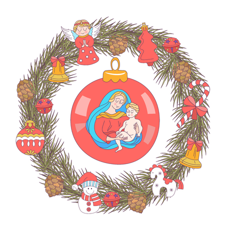 Merry Christmas. Christmas card. Fir wreath decorated with Christmas decorations, angels, balls, cones, bells. The virgin Mary holds the baby Jesus. 일러스트