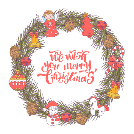 Merry Christmas. Vector Christmas card. Fir wreath decorated with Christmas decorations, angels, balls, cones, bells.