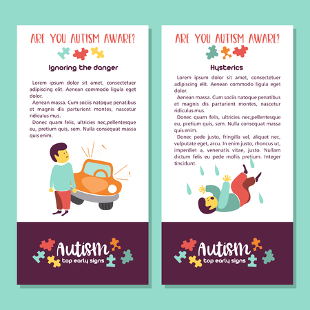 Autism. Early signs of autism syndrome in children. Vector illustration. Children autism spectrum disorder ASD icons. Signs and symptoms of autism in a child. Stock Illustratie