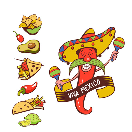 Red chili in a sombrero dancing with maracas. Mexican food. A set of popular Mexican dishes, fast food. Vector illustration. Menu template, logo.