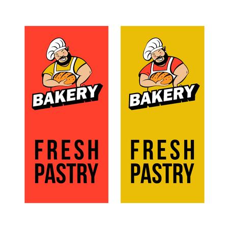 A cute Baker with a beard holds freshly baked bread. Bakery emblem.
