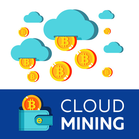 cloud mining. From the clouds crumbling coins bitcoin. Bitcoin mining. Vector conceptual illustration. Cryptocurrency.