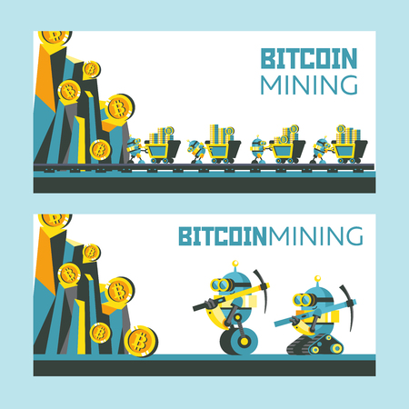 Bitcoin mining. Vector conceptual illustration. Cryptocurrency. A cute little robot pushes a cart with bitcoins. Mountains with bitcoins. Vectores