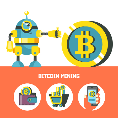 Cute robot with bitcoin coin. Bitcoin mining. Set of bitcoin icons. Vector conceptual illustration. Cryptocurrency.