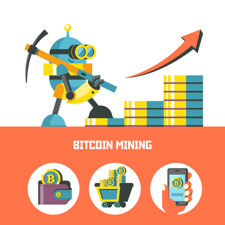 A cute little robot with a pickaxe is mining bitcoins. Mountains with bitcoins. Bitcoin mining. Vector conceptual illustration. Cryptocurrency. Set of bitcoin icons.