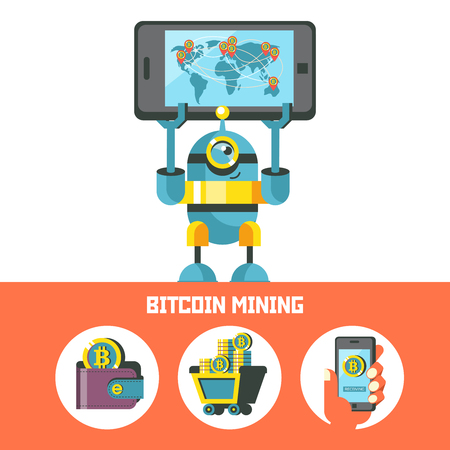 Cute little robot shows a smartphone with a map of circulation of bitcoins in the world. Bitcoin mining. Vector conceptual illustration. Cryptocurrency. Set of bitcoin icons.