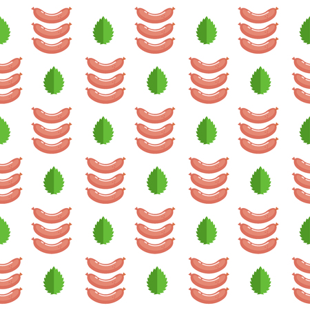Seamless pattern on white background. Fresh meat. Delicious sausages. Vector illustration.