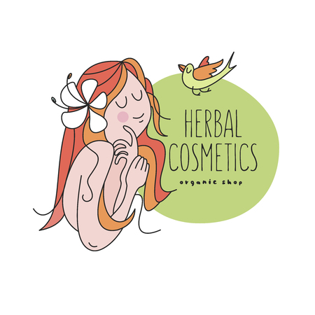Nice woman and a sprig of plants. Natural cosmetics, aromatic oils. Healthy lifestyle. Environmentally friendly bio cosmetics. Vector emblem.