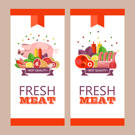 Fresh meat. Vector illustration. Environmentally friendly product. Agricultural products. A set of different meat products and a cute pig.