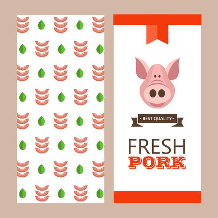 Fresh meat. Vector illustration. Environmentally friendly product. Agricultural products. Cute pig and pig sausages.