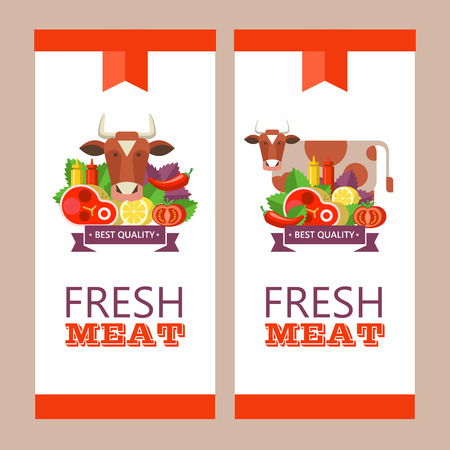 Fresh meat. Vector illustration. Environmentally friendly product. Agricultural products. A set of different meat products and a cute cow. Ilustração