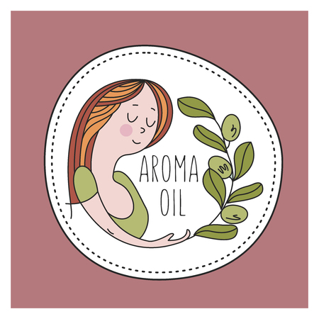 Nice woman and a sprig of plants. Natural cosmetics, aromatic oils. Healthy lifestyle. Environmentally friendly bio cosmetics. Vector emblem. 写真素材 - 111792657