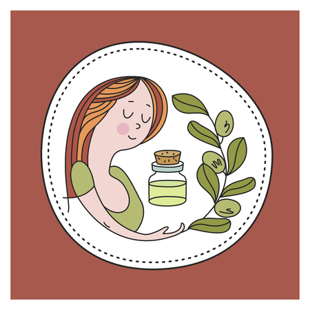 Dear woman, a jar of aromatic oil and a sprig of plants. Natural cosmetics, aromatic oils. Healthy lifestyle. Environmentally friendly bio cosmetics. Vector emblem.