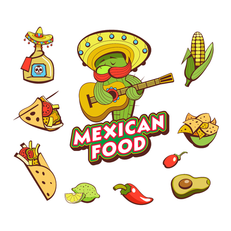 A set of popular Mexican fast food dishes. Funny cactus in sombrero playing guitar. Vector illustration in cartoon style.