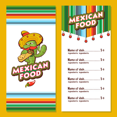 A set of popular Mexican fast food dishes. Funny cactus in sombrero eating burritos. Vector illustration in cartoon style. Mexican restaurant menu template. Vector Illustration
