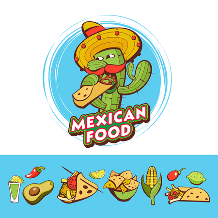 A set of popular Mexican fast food dishes. Funny cactus in sombrero eating burritos. Vector illustration in cartoon style.
