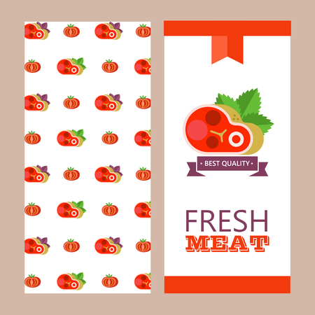 Fresh meat. Vector illustration. Environmentally friendly product. Agricultural products. Set of different meat products.