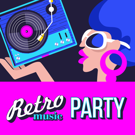 Retro disco party. A colorful poster, a poster in a retro style. Beautiful girl in sunglasses holding vinyl record. Çizim