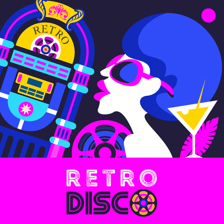 Retro disco party. A colorful poster, a poster in a retro style. Beautiful girl in sunglasses on the background of vintage jukebox.
