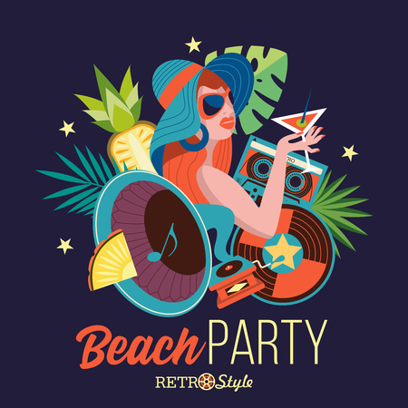 Beach retro party. Illustration in retro style. Beautiful girl in a hat drinking a cocktail on the background of palm trees. Around the girl gramophone, vinyl record, cassette. Retro music accessories.