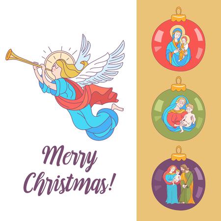 buon Natale. Cartolina di vettore, illustrazione. Angeli che trombano. Isolato su sfondo bianco. Set di palle di Natale con l'immagine della Vergine Maria Madonna con Gesù bambino e San Giuseppe. Vettoriali
