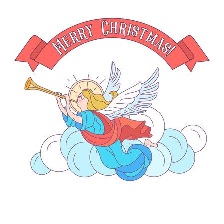Feliz Navidad. Postal de vector, ilustración. Ángeles trompeando. Aislado sobre fondo blanco.